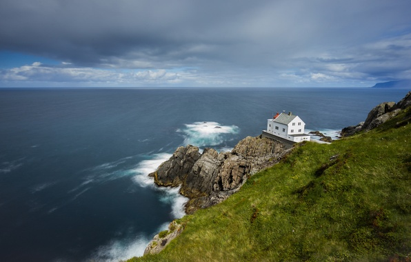 Picture sea, wave, grass, clouds, rock, lighthouse, horizon