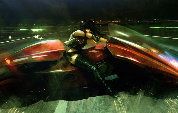 Picture road, girl, night, gun, weapons, rain, art, motorcycle, maciej kusanagi
