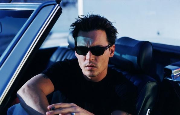 Picture Johnny Depp, glasses, Johnny Depp, car