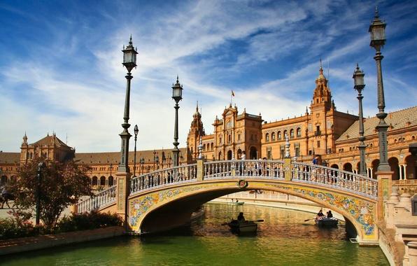 Picture bridge, river, boats, lights, Spain, Spain, Seville, Andalusia, Andalusia, Seville, Espana, Plaza de Espana