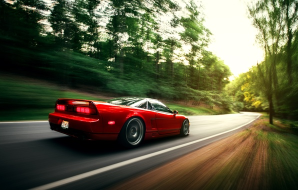 Picture car, red, honda, in motion, nsx