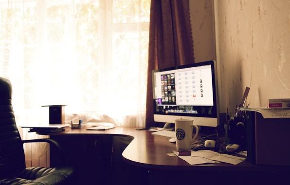 Picture the sun, room, apple, Apple, technique, mug, Mac, workplace, starbucks, work in progress
