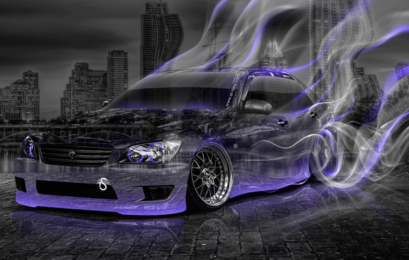 Picture Night, The city, Smoke, Neon, Machine, Style, Wallpaper, Drift, Toyota, Drift, Car, Purple, Art, Photoshop, …