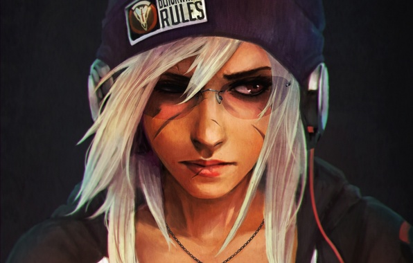 Picture girl, hat, hair, glasses, blizzard, fan art, reaper, Overwatch