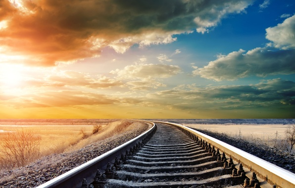 Picture the sky, clouds, landscape, rails, day, railroad, beautiful, landscape, warm, tracking, Railway