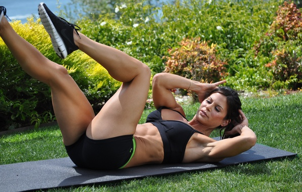 Picture grass, legs, brunette, workout, fitness, outdoors, abs, hard work