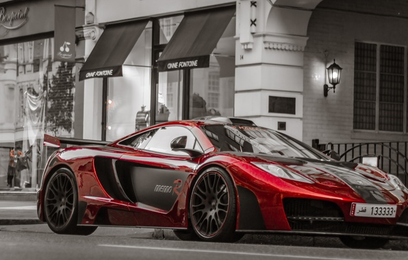 Picture road, car, auto, red, the city, background, tuning, the building, metalik, Machine, McLaren MP4-12C