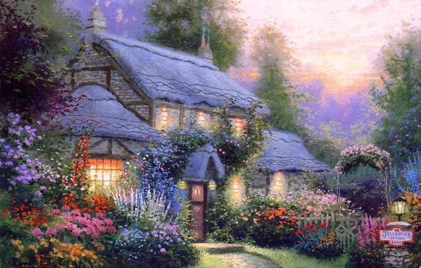Picture summer, flowers, comfort, heat, calm, silence, the evening, house, cottage, Thomas kinkade, Kincaid