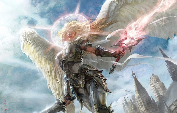 Picture girl, light, the city, magic, armor, Angel, swords, halo, spires