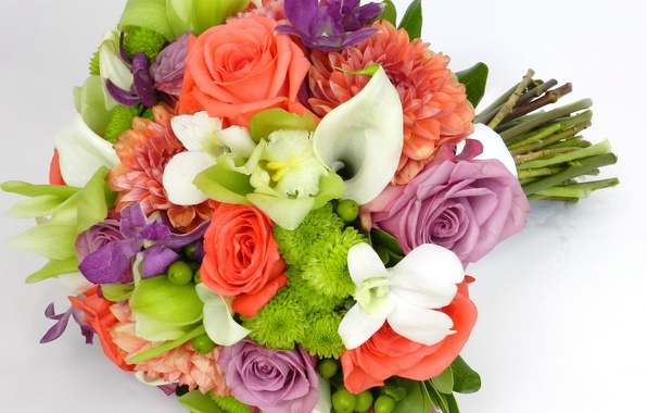 Picture flowers, photo, roses, bouquet, orchids, chrysanthemum, Calla lilies, dahlias