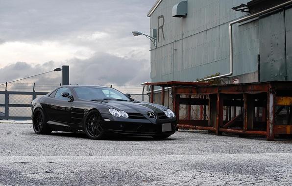 Picture black, the building, lantern, black, Mercedes Benz, front view, SLR McLaren, ramp, Mercedes Benz, SLR …