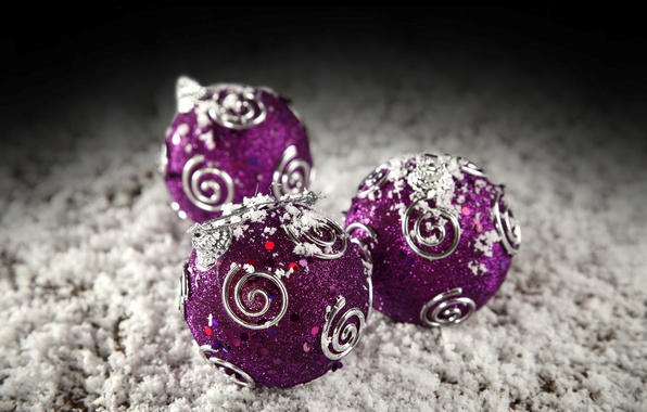 Picture winter, balls, snow, balls, patterns, toys, New Year, Christmas, purple, the scenery, Christmas, holidays, New …