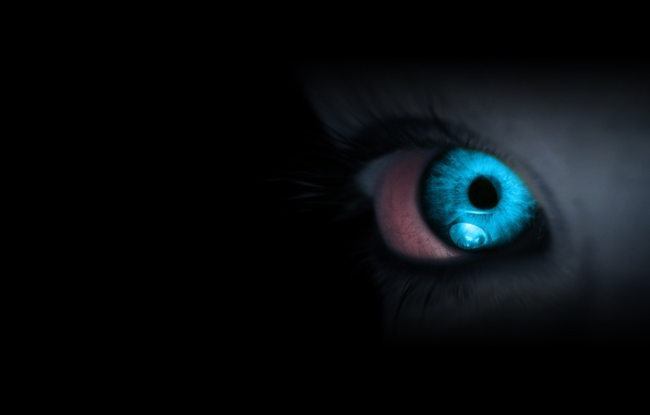 Picture eyes, darkness, blue