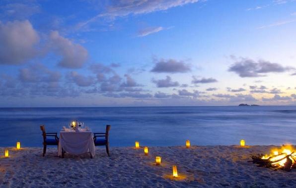 Picture beach, the ocean, romance, candles, the fire, beach, romantic, dinner, dinner