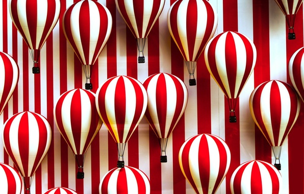 Picture strip, balloons, white, red