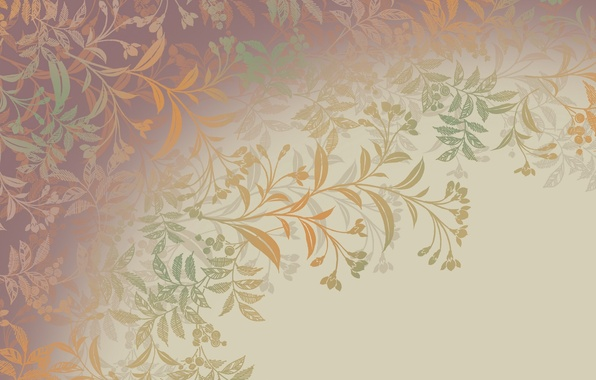 Picture leaves, flowers, branches, pattern, curls, plants