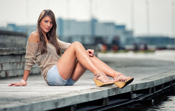 Picture look, water, girl, pose, street, feet, shorts, brunette, shoes, sexy, beautiful, jacket, sitting, beautiful