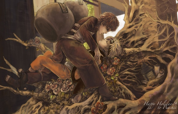 Picture flower, roots, the inscription, profile, male, bandana, naruto, pants, short hair, high resolution, brown hair, …