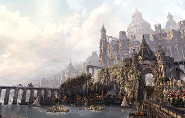 Photo Wallpaper Weekdays Art Day Fantasy The City Road Castle