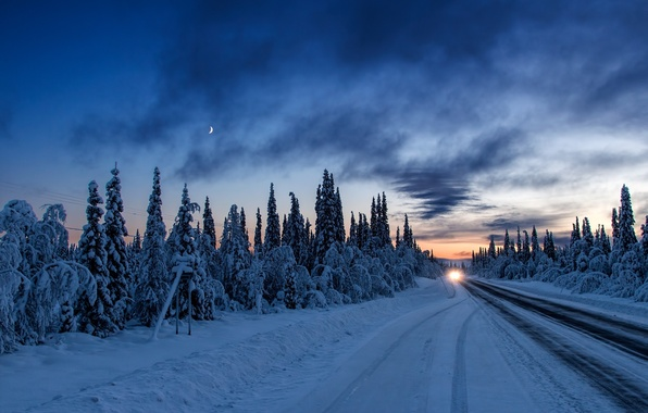 Picture winter, road, machine, forest, light, snow, sunset, the evening