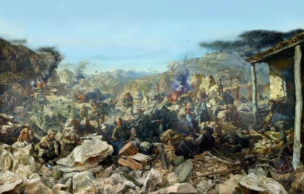 Picture explosions, ruins, battle, the battle, shootout, Afghanistan, armor, militants, helicopters, Afgan, Diorama, Soviet troops