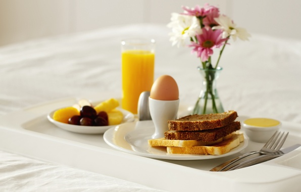 Picture flowers, egg, food, Breakfast, juice, bread, vase, sweet, toast, orange. orange