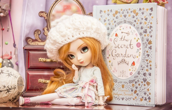 Photo wallpaper girl, toy, doll, hat, book