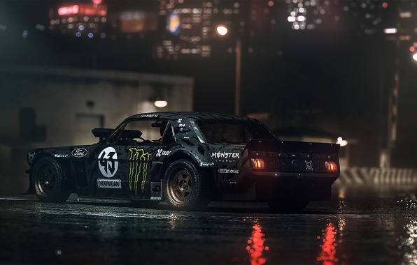 Picture Mustang, Ford, Dark, 1965, RTR, Ken Block, Gymkhana, Rear, Hoonicorn, SEVEN, 845 hp