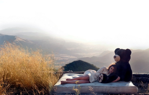Picture girl, the situation, morning, bear