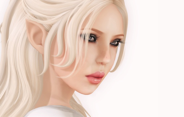 Picture girl, face, white background, elf, render
