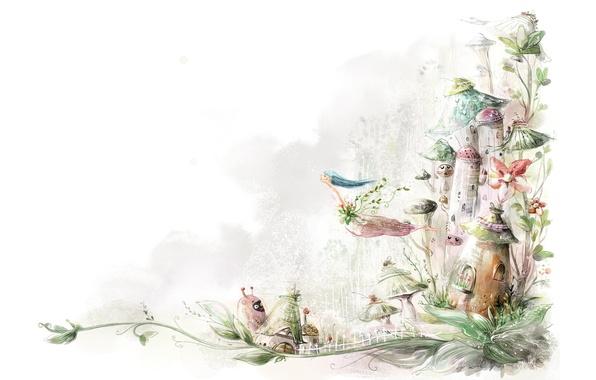 Picture white, figure, plants