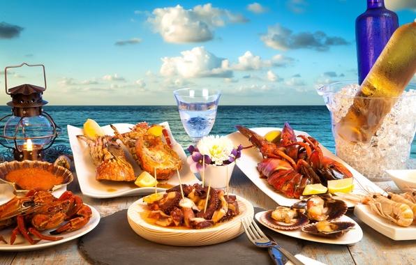 Picture sea, the sky, clouds, landscape, lemon, glass, ice, horizon, lantern, plates, bottle, caviar, seafood, cancers, …