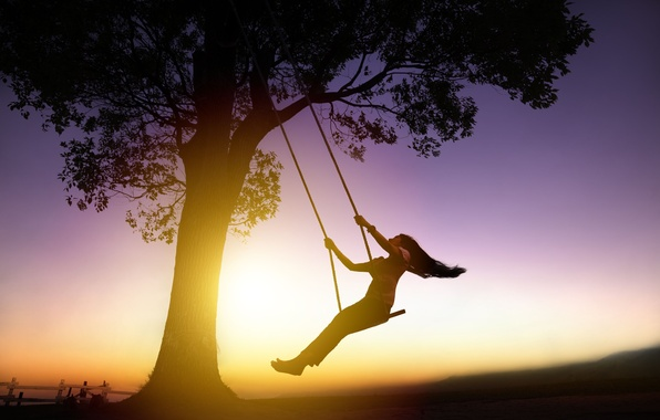 Picture girl, the sun, sunset, background, swing, tree, Wallpaper, mood, hair, people, brunette, silhouette, widescreen, full …