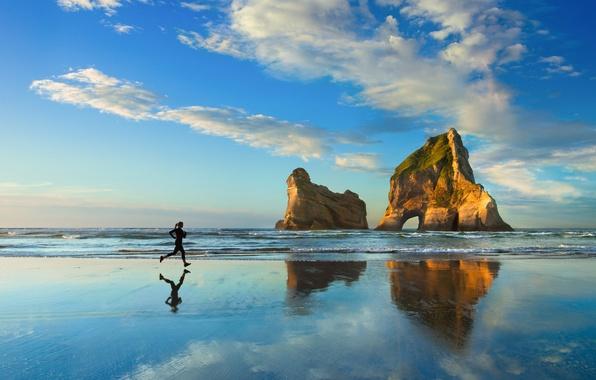Picture sea, beach, the sky, girl, clouds, rocks, dawn, sport, running