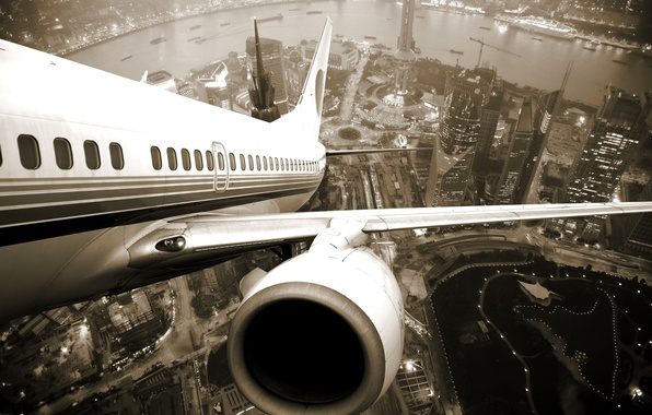 Picture the city, height, wing, turbine, Shanghai, the plane, twilight, Airplane, shanghai