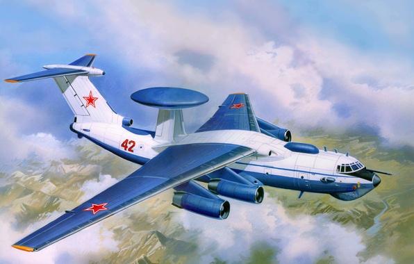 Picture the plane, art, USSR, OKB, complex, AWACS, management, far, intelligence, detection, radar, A-50, Bumblebee, Russia., …