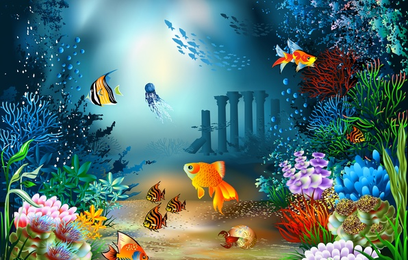 Picture sea, fish, crab, Medusa, vector, the bottom, shell, corals, underwater world