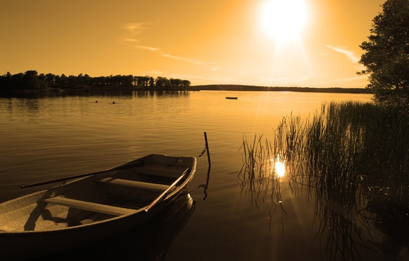 Picture sunset, nature, lake, boat