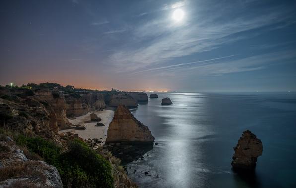 Picture sea, beach, stars, night, rocks, the moon