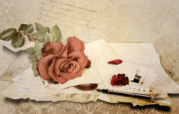 Picture letter, paper, notes, rose, handle, vintage