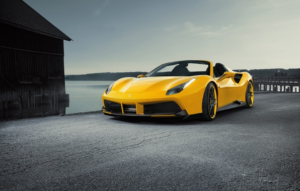 Photo wallpaper car, machine, yellow, Ferrari, Ferrari, tuning, the front, Spider, Rosso, Novitec, 488