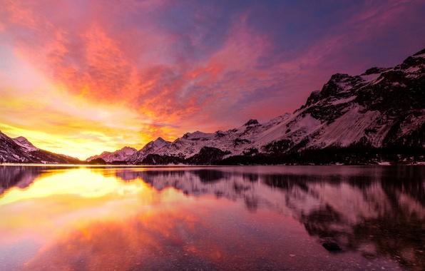 Picture winter, landscape, mountains, lake, dawn