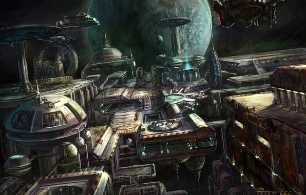 Picture space, planet, station, art, starcraft, peter lee, space