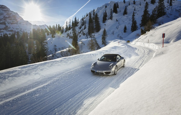 Picture road, the sun, snow, 911, Porsche, Porsche, the front
