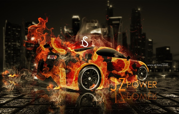 Photo Wallpaper Toyota, Supra, El Tony Cars, Fire Car