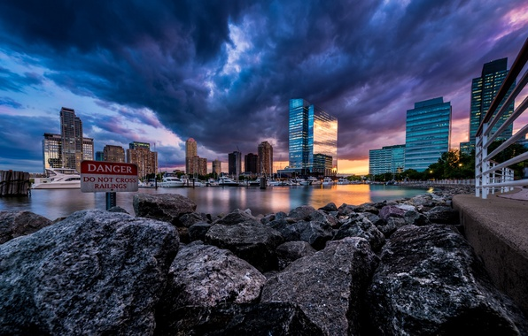 Picture the sky, sunset, the city, river, stones, shore, skyscrapers, boats, the evening, USA, USA, New …