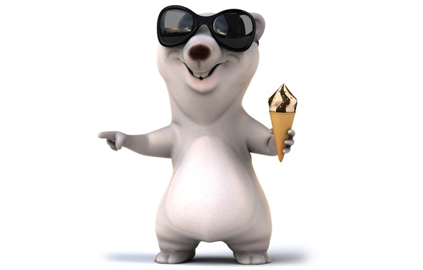 Picture bear, character, funny, ice cream, white bear