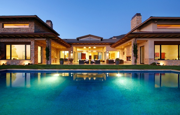 Picture grass, house, table, Villa, chairs, pool, chairs, house, pool, sofas, interior, home, exterior, desigen, exterior, …