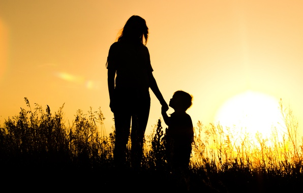 Picture the sun, sunset, silhouettes, mom, son