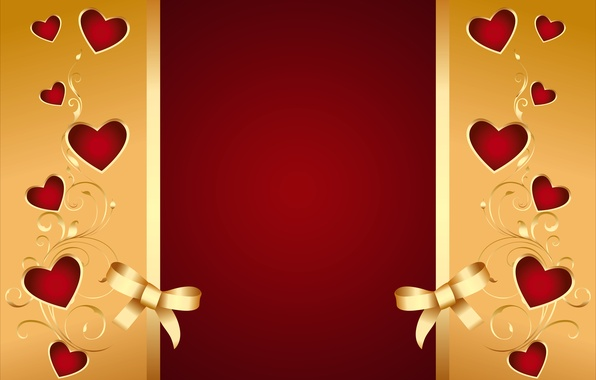 Picture background, hearts, red, golden, love, background, romantic, hearts, valentine, bow